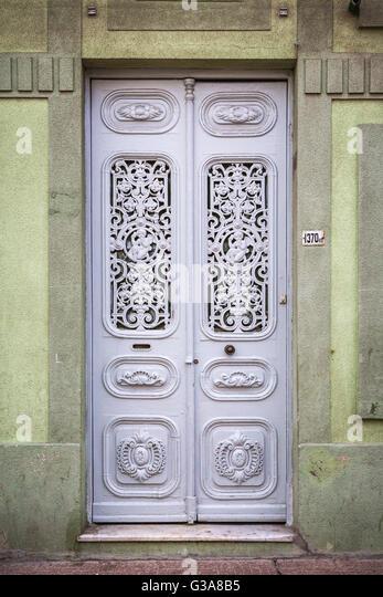 A decorative door in Montevideo, Uruguay, South America. - Stock Image