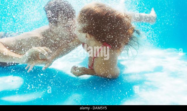 Woman Swimming Underwater Bikini Stock Photos Woman Swimming Underwater Bikini Stock Images