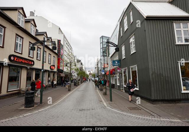 Austurstraeti the oldest street in the old town reykjavik iceland - Stock-Bilder