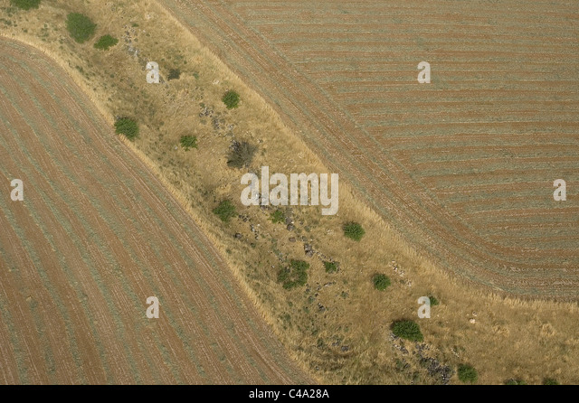 Aerial photograph of a brown field in Israel - Stock Image