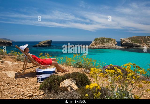 Blue Lagoon of Comino, Malta, Europe - Stock Image