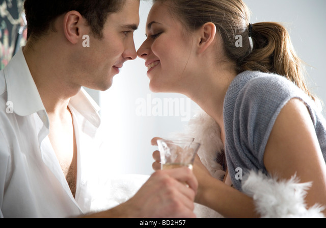 couple drinking champagne - Stock Image