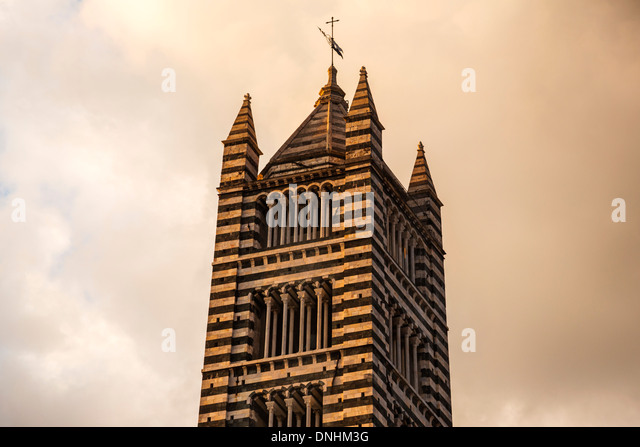 Low angle view of a bell tower, Siena Cathedral, Siena, Siena Province, Tuscany, Italy - Stock-Bilder