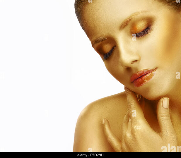 Dreams. Close up Portrait of Young Woman with Silky Skin - Stock Image