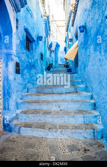 The beautiful blue medina of Chefchaouen in Morocco - Stock Image