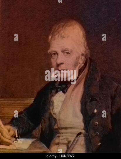 Portrait of the poet Sir Walter Scott, 1817. From the New York Public Library. Note: Image has been digitally colorized - Stock Image