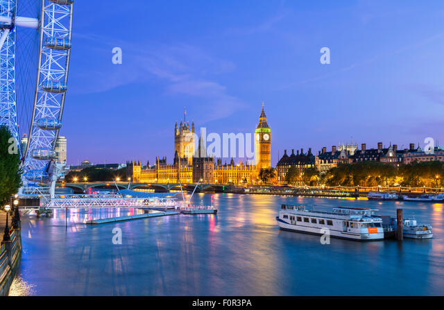 England, London Skyline at Dusk - Stock Image