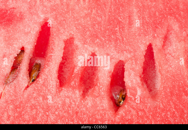 Close up image of seed and watermelon texture. - Stock Image