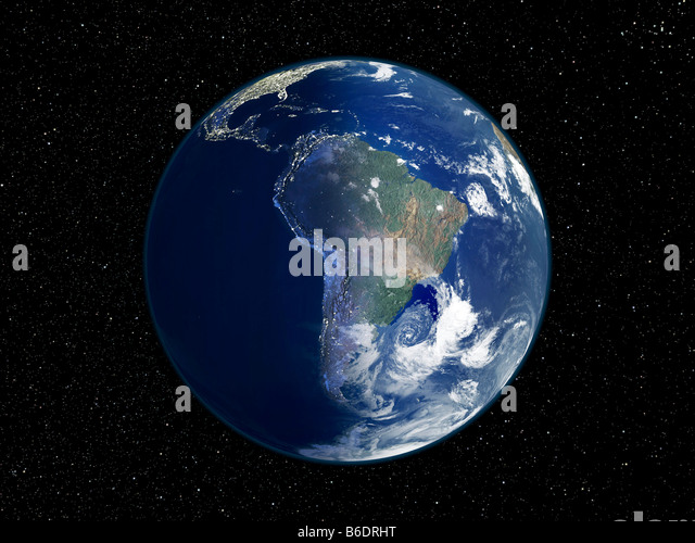 South America, night-day satellite image. This composite image of the Earth is centred on South America. - Stock Image