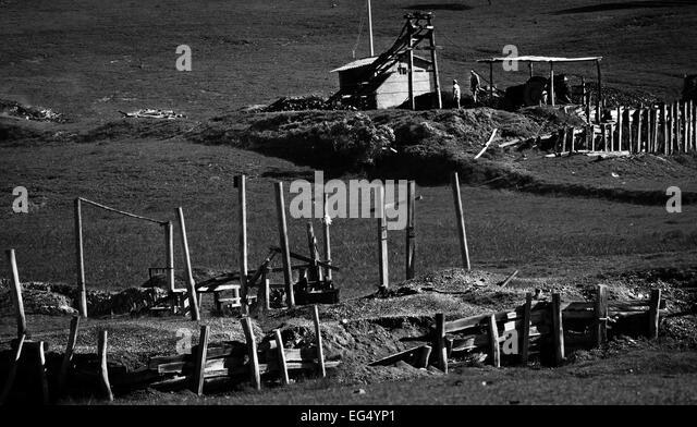 coal mine, black and white, minerals, exploitation, work, earth, hard work, wealth, landscape, house, panorama, - Stock-Bilder