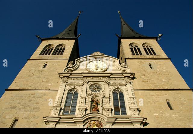 Switzerland Lucerne St Leodegar im Hof luzern - Stock Image