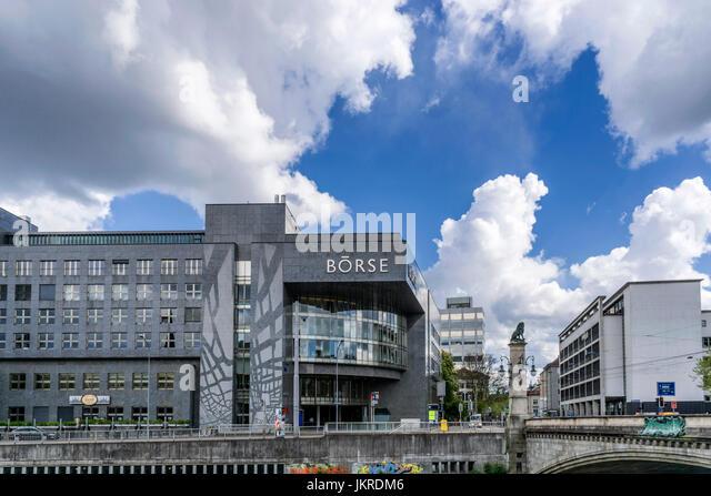 SIX Swiss Exchange, Boerse, Stauffacher bridge , lion sculpture, Zurich, Switzerland - Stock Image