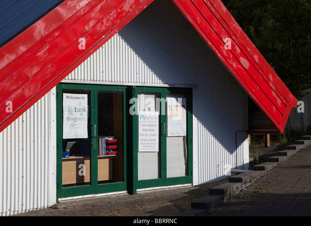 Building for the Food Bank set up to give free food in the community Ebbw Vale Wales UK - Stock Image