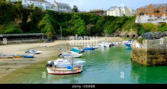 Boats in Newquay harbour Cornwall England uk - Stock Image