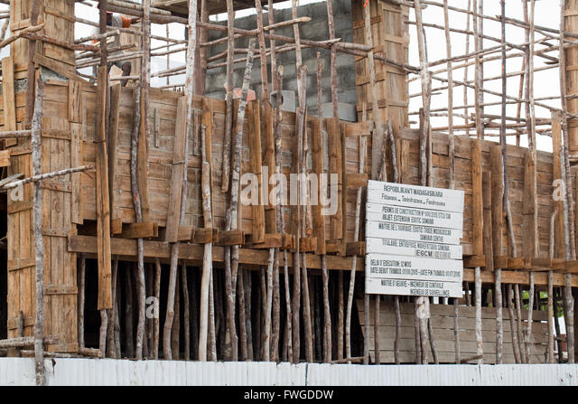 Building Construction. Wood Scaffolding. Sambava. Madagascar. - Stock Image