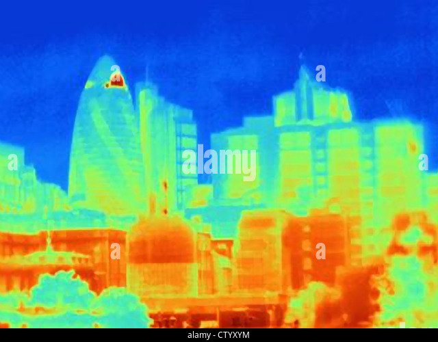 Thermal image of the Gherkin in London - Stock Image