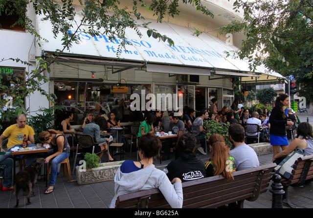 Israel, Tel Aviv-Yafo, Espresso Mersand at Ben Yehuda street - Stock Image