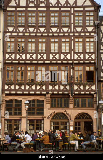 Germany Frankfurt Romer Square alfresco dining architecture - Stock Image