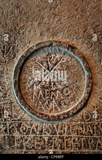 Chi Rho symbol mensa table martyrs third quarter of IV - 5 century  BC Umm el Kherbet Ahdam Algeria Khirbet Um El'Amad - Stock Image