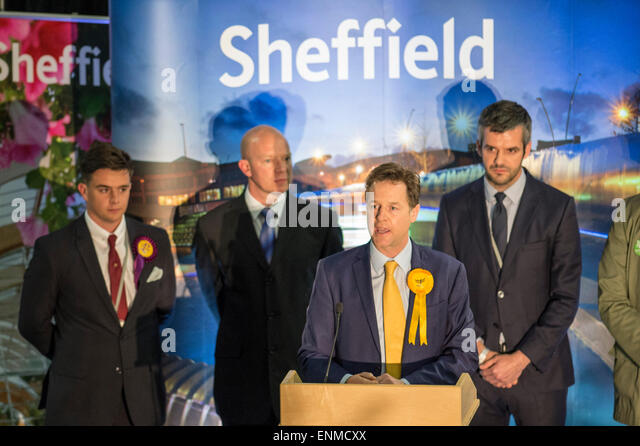 Sheffield, UK. 8th May, 2015. Nick Clegg MP retains his seat of Sheffield Hallam at the English Institute of Sport - Stock Image