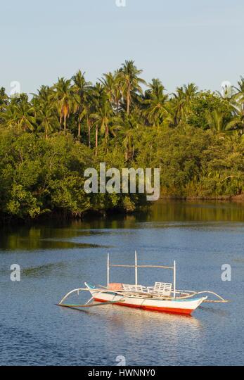 Philippines, Luzon, Sorsogon Province, Donsol, firefly boat on Ogod River - Stock-Bilder
