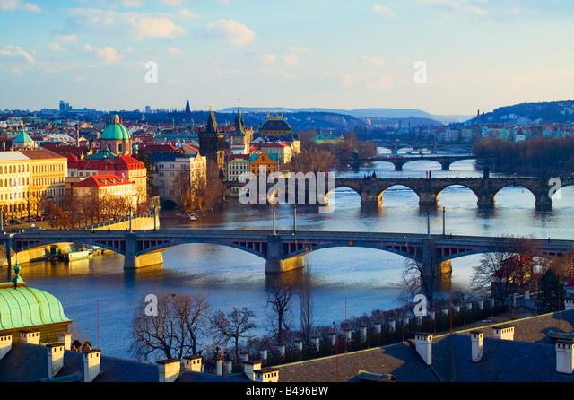 River Vltava Prague Czech Republic - Stock-Bilder