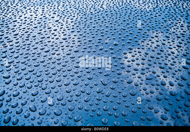 Beaded water drops on a car - Stock Image