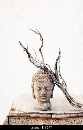 Still Life Photography. Buddha And Aged Bush Branch. - Stock Image