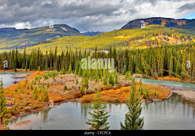 Bow River, Banff National Park, Alberta, Canada - Stock Image