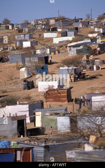 Namibia Windhoek. Township Goreangab. Houses of corrugated iron - Stock-Bilder