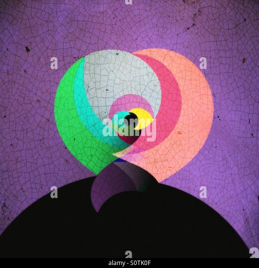 All Seeing Eye Abstract in Purple Black Green and Peach - Stock Image