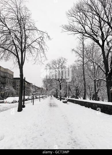 Snow urban sidewalk by Prospect Park, Brooklyn. - Stock Image