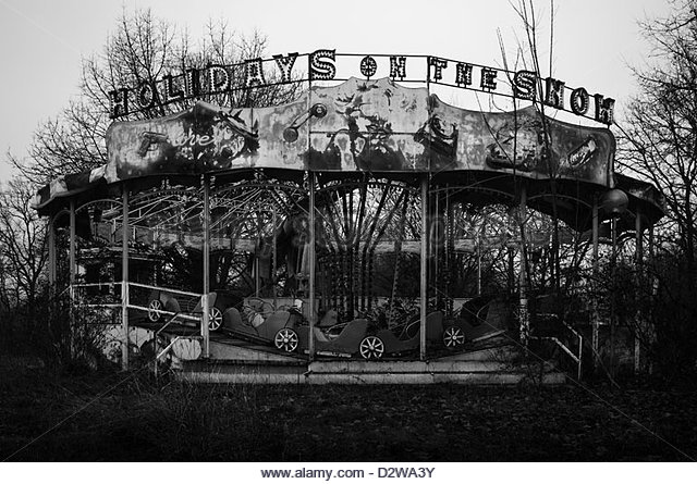 Abandoned fun fair. Carousel - Stock Image