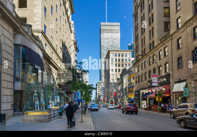 Shops on Rue Peel in the downtown area, Montreal, Quebec, Canada - Stock Image