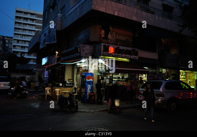 Beirut old and new, Lebanon; night life, urban cafes. - Stock Image
