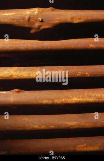 Rusty corrugated metal - Stock Image