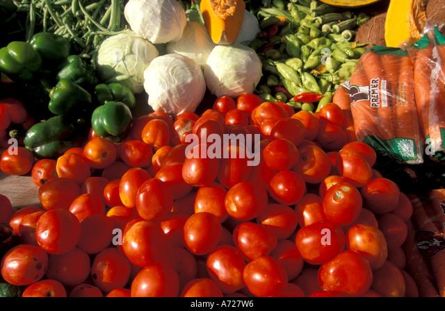 Tobago Scarborough Saturday market red tomatoes - Stock Image