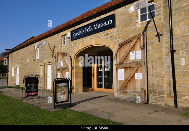 The entrance to the Ryedale Folk Museum, Hutton-le-Hole, North Yorkshire, England, UK. - Stock Image