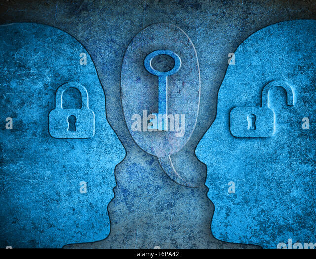 knowledge digital illustration concept with human silhouette padlocks and kay - Stock-Bilder