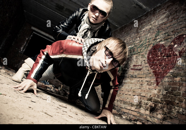 Funny couple - Stock Image
