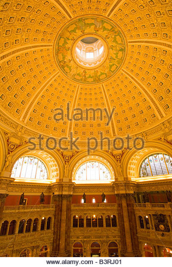 Ceiling above the Main Reading Room The Library of Congress Thomas Jefferson Building Washington D C U S A - Stock-Bilder