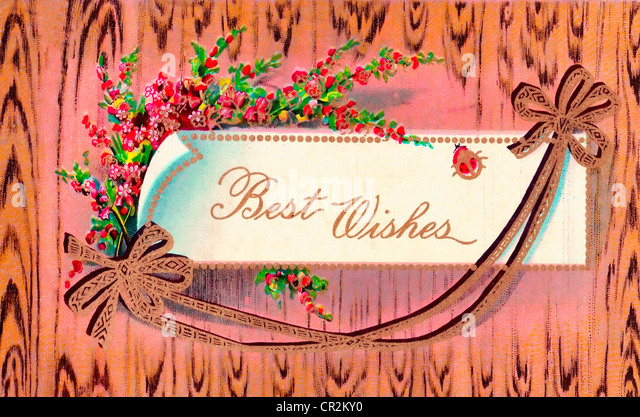 Best Wishes - vintage card - Stock Image