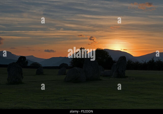 Sunset at Castlerigg stone circle near Keswick, Lake District, Cumbria, England, Uk, Gb - Stock Image