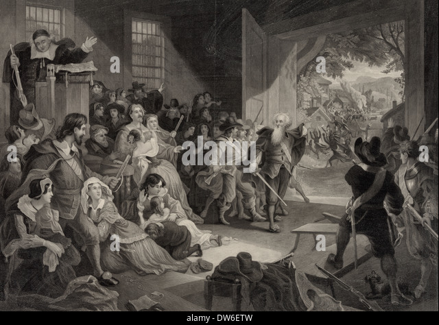 The Perils of our forefathers - Early Americans hiding from rampaging Native Americans (1859 Print) - Stock Image