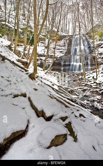 Sherman Falls and Ancaster Creek in winter, Bruce Trail, Niagara Escarpment, Hamilton, Ontario, Canada - Stock Image