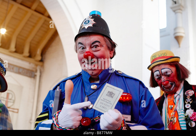 joseph grimaldi memorial service for clowns in london england uk - Stock Image