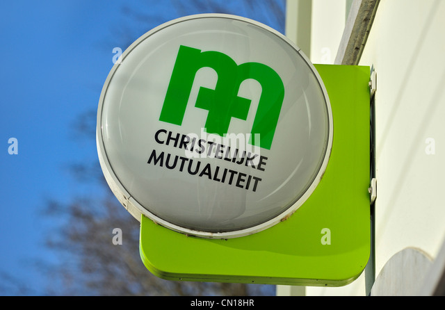 Signboard with logo of the Christian National Health Service / CM / Christelijke Mutualiteit, Flanders, Belgium - Stock Image