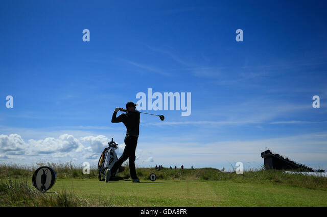 Northern Ireland's Rory McIlroy on the 13th during day one of The Open Championship 2016 at Royal Troon Golf - Stock Image