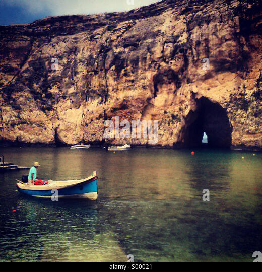 Boat on the inland sea, Gozo, Malta - Stock Image