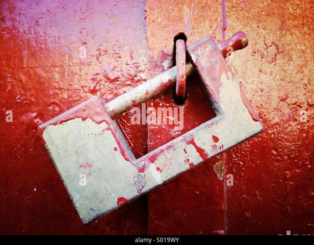 Lock and red paint - Stock Image